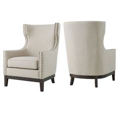 """Sand & Stable Bryan 36"""" Wide Linen Wingback Chair & Reviews 