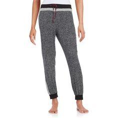 Dkny Printed Sleep Jogger Pants ($48) ❤ liked on Polyvore featuring intimates, sleepwear, pajamas, black, dkny, dkny pajamas and dkny sleepwear