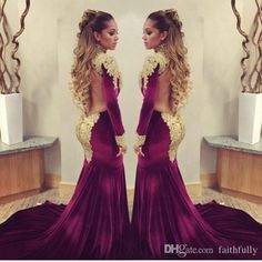 Vestidos Arabic Burgendy Velvet Celebrity Evening Dresses 2017 Sexy High Neck Long Sleeves Backless Gold Appliques Beaded Glitz Prom Gowns : dresses on Zibbet: Looking for 2019 prom dresses, cheap bridesmaid Different Prom Dresses, Prom Dresses Long With Sleeves, Long Prom Gowns, Pageant Gowns, Evening Dresses Uk, Evening Party Gowns, Mermaid Evening Dresses, Celebrity Inspired Dresses, Celebrity Dresses