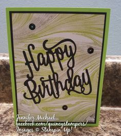 Stampin' Up! Marbled Background in Lemon Lime Twist Paper Cards, Cards Diy, Marble Card, Happy Birthday Gorgeous, Die Cut Cards, Handmade Birthday Cards, Lemon Lime, Paper Background, Stampin Up Cards