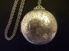 Antique sterling silver locket compact antique sterling silver necklace compact mirror powder compact