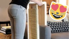 We built a modern vertical cat scratching post that slides over the arm of our couch. Cat Care Tips, Pet Tips, Dog Care, Diy Cat Scratching Post, Cat Tree Plans, Wooden Couch, Youtube Cats, Pumpkin Dog Treats, Cat Playground