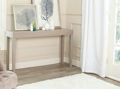 Safavieh Furniture - The classic Parsons table gets a chic update with slightly tapered legs in the light grey lacquer Kayson Console. Use this elegant piece for a dramatic Sofa End Tables, Entryway Tables, Gray Console Table, Modern Console Tables, Dining Table, Mid Century Console, Mdf Wood, Bedroom Wall, Gray Living Room Walls