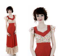70s Festival Dress Vintage Prairie Rusty Orange Calico Floral Hippie Boho Bohemian Ruffle Flutter Sleeves 60s Full Skirt Small S XS