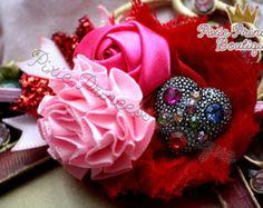 Be Mine} Headband, Baby Headband, Photography Prop, Couture Headband, Valentine's Day Headband, Valentines Day, Heart Headband, Pink and Red