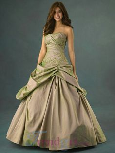 Iridescent fawn/green ballgown with green beading