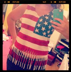 My 4th of July American Flag fringe T-shirt! DIY 2013
