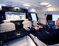 Becker Cadillac Escalade ESV is an ultimate mobile office. Escalade Esv, Cadillac Escalade, Rv Truck, Automobile, Mobile Office, Luxury Suv, Luxury Interior, Sprinter Van, Ways To Travel