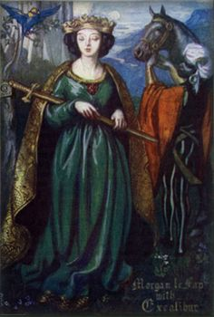 """Morgan le Fay with Excalibur"" by Dora Curtis."