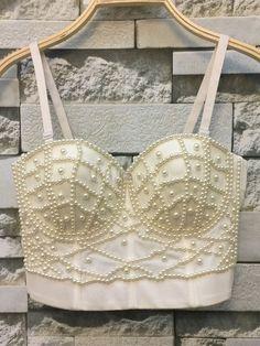 Soutien-gorge blanc bretelles perles Crop Top pour femmes - Milanoo.com