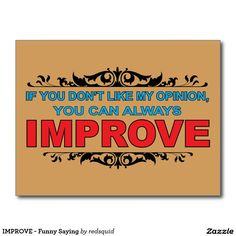 IMPROVE - Funny Saying Postcard