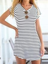 Elegant Short Sleeve Casual Jersey Mini Dress - Stripes - Mini Dress - I Sell Goods - 3