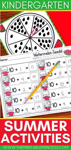 This easy to prep packet is loaded with summer activities and partner games for Kindergarten. The math and literacy activities are perfect for the end of the year or during summer school. Your kids will love the activities because they are fun and engaging; you will LOVE them because the prep-work is super easy and minimal. Subtraction Activities, Addition Activities, Kindergarten Math Activities, Math Literacy, Sight Word Activities, Counting Activities, Letter Activities, Kindergarten Teachers, Summer Activities