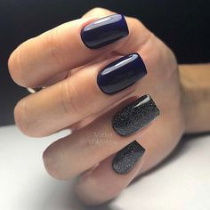 Navy Blue and Black Glitter Nails