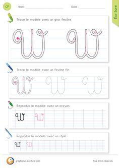 PDF Fiche pour apprendre à écrire la lettre W MAJUSCULE cursive.