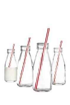 Vintage Milk Bottles - Set of 4