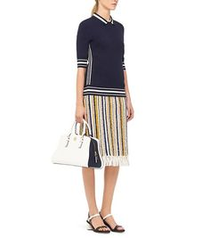 ROBINSON COLOR-BLOCK CURVED SATCHEL  - NEW IVORY/TORY NAVY Spring 2015, Color Blocking, Tory Burch, Satchel, Curves, Satchel Purse, Full Figured, Backpack, Curvy Women