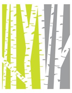 Modern Birch Trees Green and Gray 8x10 print