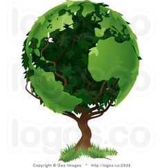 Vector Clipart Earth Tree Logo