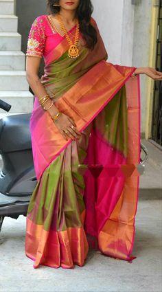 Pattu Sarees Wedding, Uppada Pattu Sarees, Wedding Saree Blouse Designs, Pattu Saree Blouse Designs, Bridal Silk Saree, Blouse For Silk Saree, Indian Wedding Sarees, Gold Silk Saree, Satin Saree