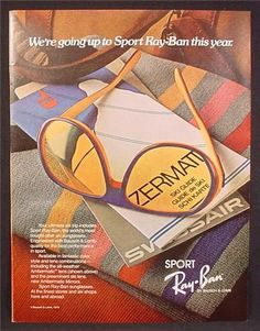 Magazine Ad For Sport Ray-Ban Sunglasses, Ray Ban, Bausch & Lomb, 1980, 8 1/8 by 10 7/8 1980 Playboy Magazine