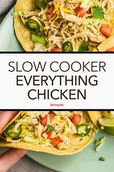 Having a pre-made batch of slow cooker everything chicken in your kitchen is sure to make many of your recipes infinitely easier, especially on weeknights. Slow Cooker Recipes, Crockpot Recipes, Chicken Recipes, Cooking Recipes, Clean Eating Recipes, Healthy Dinner Recipes, Slow Cooked Chicken, Crock Pot Cooking, Food Dishes