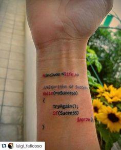 #Repost @luigi_faticoso programming tattoo! Follow @woplearncode ・・・ #algorithm…