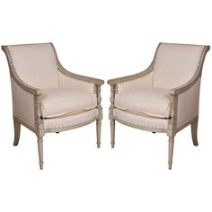 Pair of Painted Directoire Bergeres 36 in. (91 cm) WIDTH:	27 in. (69 cm) DEPTH:	26 in. (66 cm) SEAT HEIGHT:	20.5 in. (52 cm)