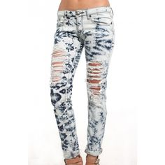 Machine Jeans Shredded Tie Dye Denim ($45) ❤ liked on Polyvore