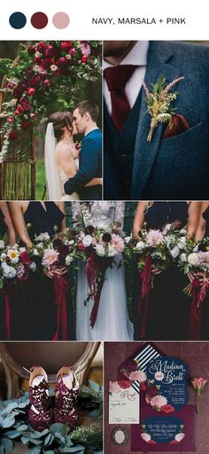 fall wedding colors 2017 navy blue marsala and pink october wedding colors schemes / fall wedding ideas colors october / fall wedding ideas november / fall winter wedding / fall colors for wedding Blush Fall Wedding, Fall Wedding Flowers, Wedding Bouquets, Boquette Wedding, Bridesmaid Bouquets, Navy Blue Wedding Theme, Wedding Dresses, Wedding Ceremony, Winter Flowers