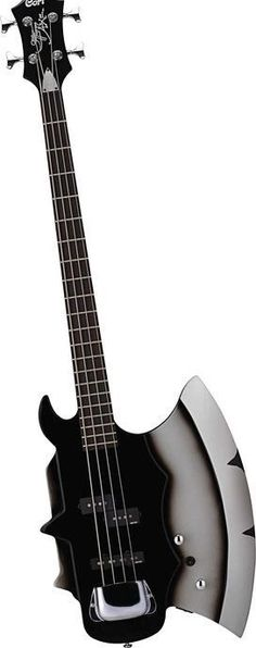 When they call a guitar an AX, they mean it for this one. A Cort Gene Simmons AXE four string black Electric Bass Guitar. Music Guitar, Guitar Amp, Cool Guitar, Playing Guitar, Ukulele, Guitar Pins, Unique Guitars, Custom Guitars, Vintage Guitars