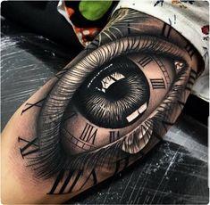 37 ideas for eye tattoo design clock Dope Tattoos, Arm Tattoos For Guys, Unique Tattoos, Leg Tattoos, Body Art Tattoos, Girl Tattoos, Clock Tattoos, Tattoo Hals, Tattoo Patterns