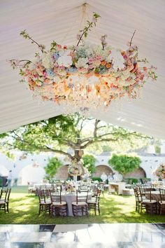 Floral chandelier-tent reception