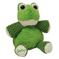 """Made of the softest green plush, Baby Ribbert the Frog is 7"""" tall when seated. He comes alive with fragrance when you place a Scent Pak in the zippered pocket in his back."""