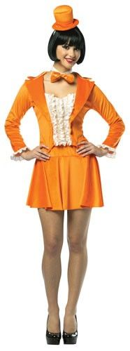 Dumb and Dumber Orange Tuxedo Dress - Calgary, Alberta. This Lloyd Christmas costume is perfect for Halloween, couples costumes, watching the new Dumb and Dumber movie and costume parties. This is an officially licensed Lloyd Christmas Tuxedo Dress.  This is a four-piece Dumb and Dumber costume with a jacket, skirt, headpiece and a bow tie. The jacket is orange and is soft microfiber with a silk collar. It has a sweetheart neckline and a ruffled shirt front.
