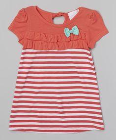Loving this Coral Stripe Ruffle Babydoll Dress - Toddler & Girls on #zulily! #zulilyfinds