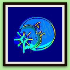 Man in the Moon Art. Abstract Illustration. Modern Digital Drawing. 300 dpi Printable pdf. Hippie Art, Peter Max Style.Home or Office Decor - pinned by pin4etsy.com