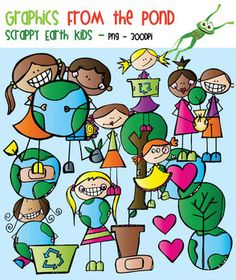 Scrappy Earth Day Kids - Clipart for Teachers and Teaching