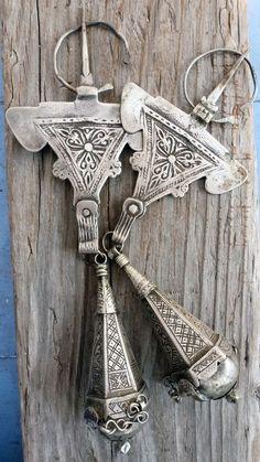 (B)  Antique Pair Berber Silver Fibula Perfume Holder Signed Morocco 1918 NR