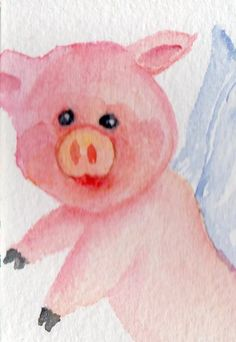 Original ACEO Flying Pig  Painting Watercolor  by SharonFosterArt, $7.00