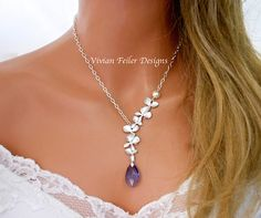 Purple Wedding Jewelry Tanzanite Orchid Necklace Pearl Bridal Jewelry Bridesmaid Gift Wedding Jewellery