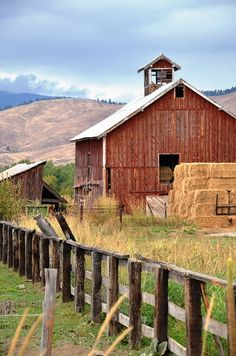 RED BARN~Old Farm.old barn, weathered fence & hay bales. Farm Barn, Old Farm, Country Barns, Country Living, Country Roads, Barns Sheds, Country Scenes, Farms Living, Red Barns