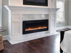 New Living Room Black Fireplace Floors 29 Ideas Double Sided Fireplace, Black Fireplace, Fireplace Design, Fireplace Ideas, Fireplace Logs, Fireplaces, Living Room White, White Rooms, New Living Room