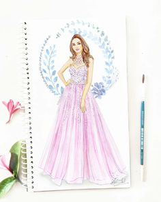 In love with this dreamy, princess gown with embellished bodice by on gorgeous 💕 Tag your girls who would love this too! Dress Design Drawing, Dress Design Sketches, Fashion Design Sketchbook, Dress Drawing, Fashion Design Drawings, Fashion Sketches, Fashion Illustration Tutorial, Fashion Illustration Collage, Dress Illustration