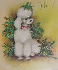 Vintage Christmas Card Lot of 4 - A Girl & Her Poodle Merry Christmas Baby, Christmas Greetings, Vintage Christmas Images, Retro Christmas, Christmas Animals, Christmas Cats, Xmas, Poodles, Poodle Drawing