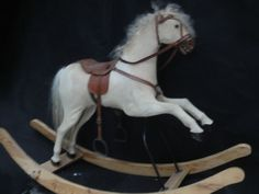 VERY RARE ANTIQUE FRENCH ROCKING HORSE FOLK ART 1880s WOOD ON STAND w SADDLE
