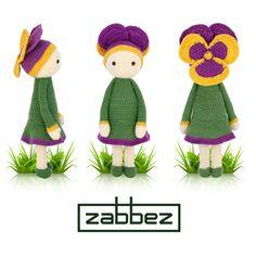 Violet Vicky flower doll - Amigurumi crochet pattern by Zabbez