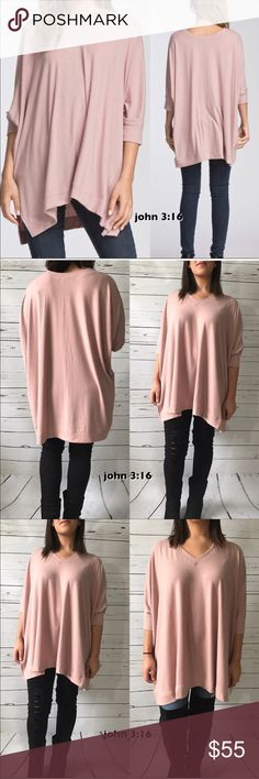 Oversized knit tops Oversized knit tops made of soft knit fabric. V-neck and boxy fit...has side slits and three quarters banded sleeves.  #35  ✔️46% rayon 46% polyester 8% spandex  ✔️Oversized ✔️Daughter is modeling her small ✔️Beautiful dusty rose color Boutique Sweaters