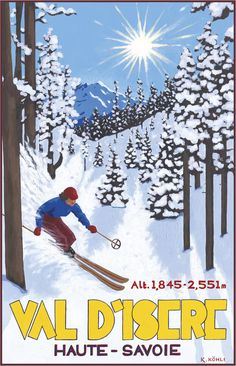 PEL124: 'Val D'Isere: Off-Piste Skier' - by Katrine Kohli - Vintage travel posters - Winter Sports posters - Art Deco - Pullman Editions