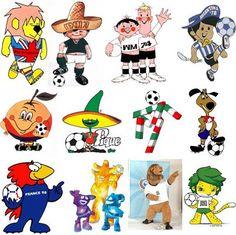 """""""Mascotes da Copa"""" em meados anos 60, 70, 80, 90 e 2000? Foram bastante divertidos e representavam o Futebol. A cada 4 anos tinha um diferente. Pela sequência da Esquerda para a direita 1966 Willie (Inglaterra), 1970 Juanito (México), 1974 Tip e Tap (Alemanha), 1982 Naranjito (Espanha), 1986 Piqué (México), 1990 Ciao (Itália), 1994 Striker (EUA), 1998 Footix (França), 2002 Nik, Ato e Kaz (Coréia/Japão), 2006 Goleo VI (Alemanha) e 2010 Zakumi (África do Sul)."""